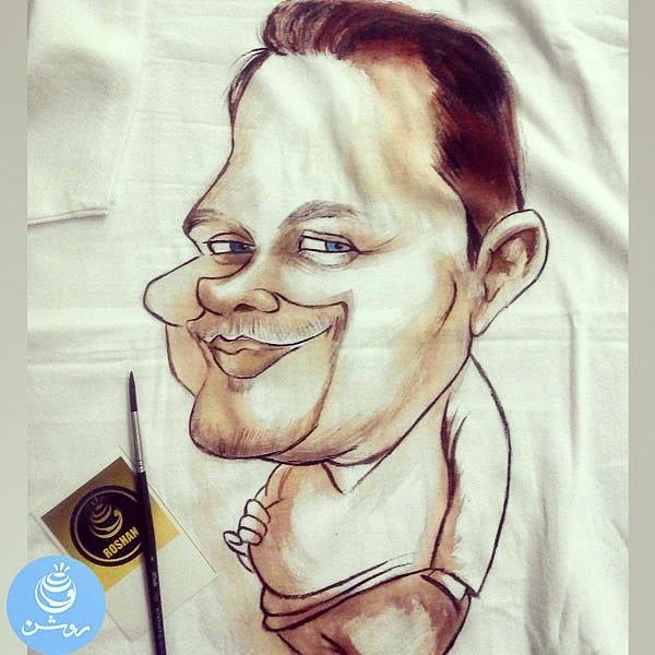 کاریکاتور چهره روی لباس