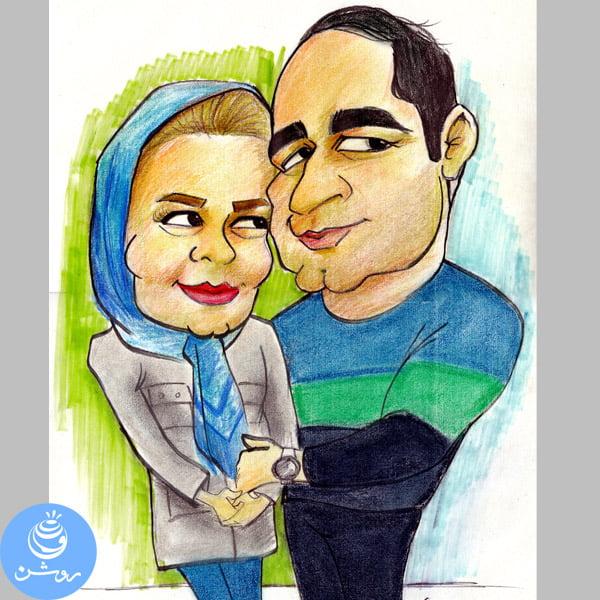 کاریکاتور چهره زن و شوهر