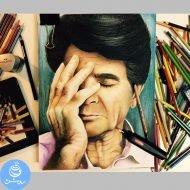 نقاشی چهره استاد شجریان با مداد رنگی بصورت هایپررئال