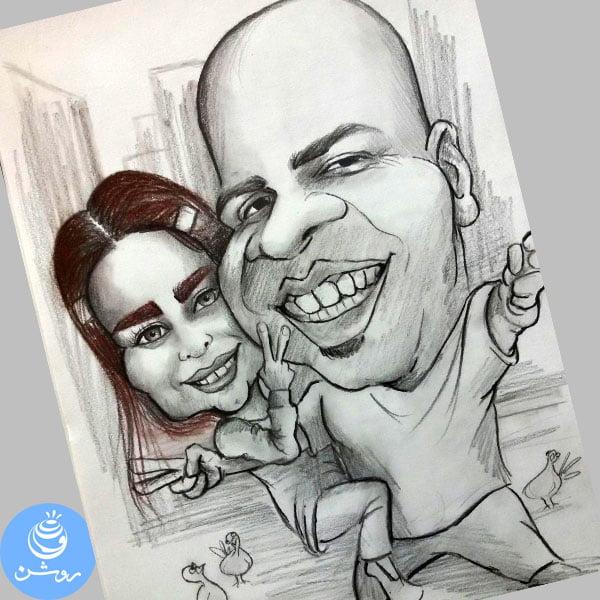 نقاشی کاریکاتور زوج پر انرژی