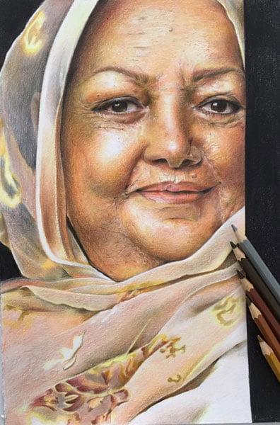 نقاشی چهره حمیده خیرآبادی با مداد رنگی