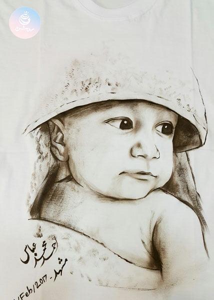 سفارش طراحی چهره کودک روی تیشرت