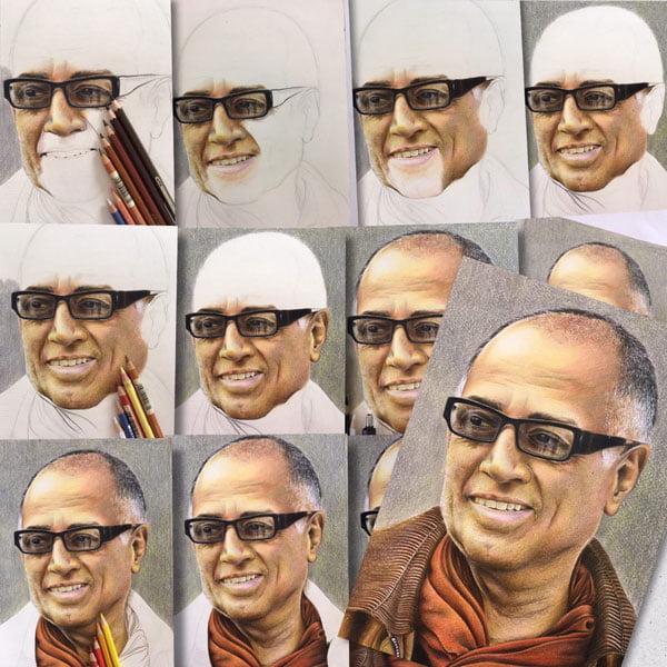 نقاشی چهره عباس کیارستی با مداد رنگی مرحله به مرحله