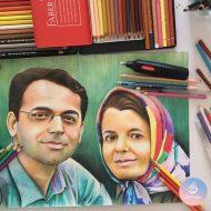 نقاشی چهره با مداد رنگی هدیه سالگرد ازدواج