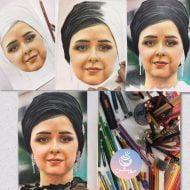 نقاشی چهره ترانه علیدوستی با مداد رنگی