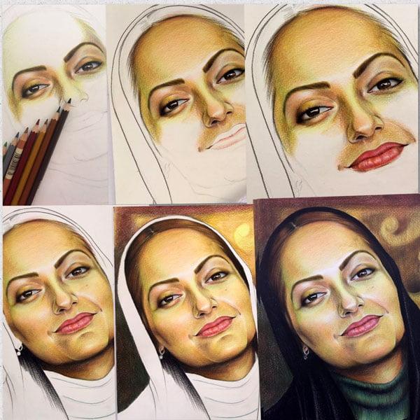 نقاشی چهره مهناز افشار با مداد رنگی