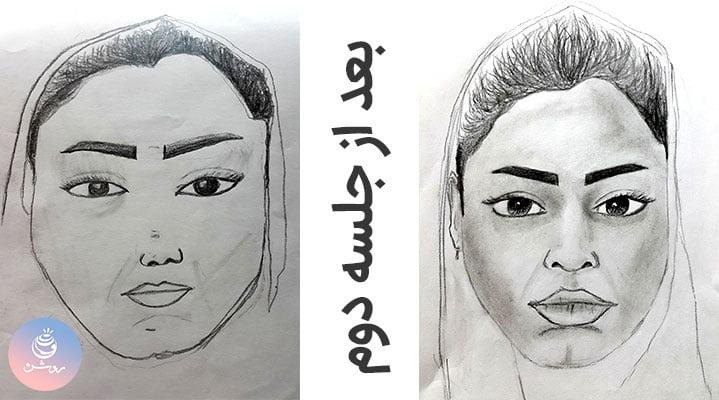 روند تمرین طراحی چهره