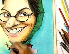 طراحی کاریکاتور بازیگر خانم سوسن پرور با مداد رنگی