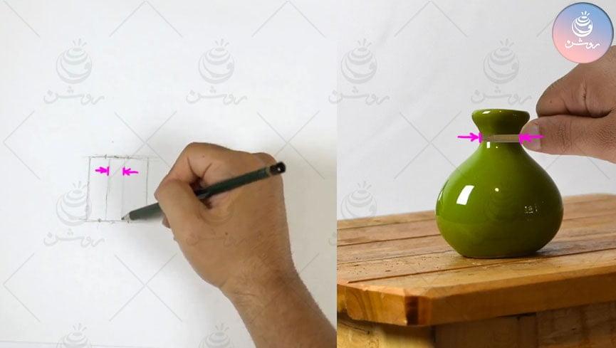 آموزش اندازه گیری در طراحی  و نحوه استفاده از مداد برای اندازه گیری مدل