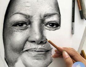 طراحی چهره با مداد سیاه