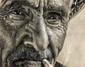 نقاشی سیاه قلم هایپررئال چهره
