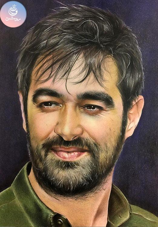 نقاشی چهره شهاب حسینی با مداد رنگی