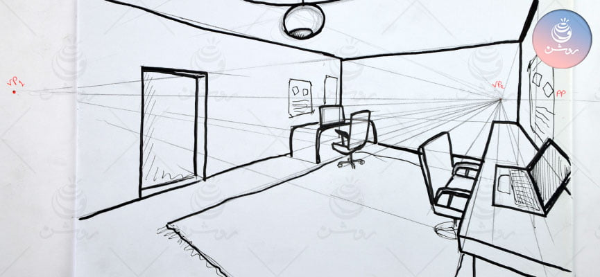 مبانی طراحی ۶ - فیلم کامل پرسپکتیو دو نقطه ای بصورت تمرین عملی