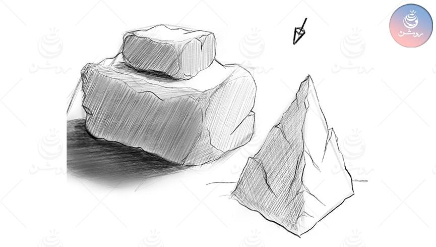 طراحی با مداد از سنگ در 4 مرحله ساده بصورت طراحی ذهنی