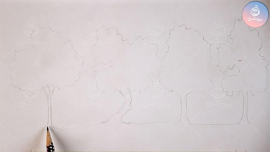 مقایسه و آموزش اکولین، آبرنگ، گواش و آب مرکب در نقاشی درخت